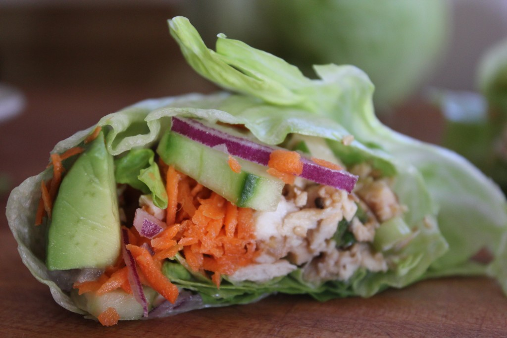 Leftover Turkey Lettuce Wraps with Sesame Ginger Dressing