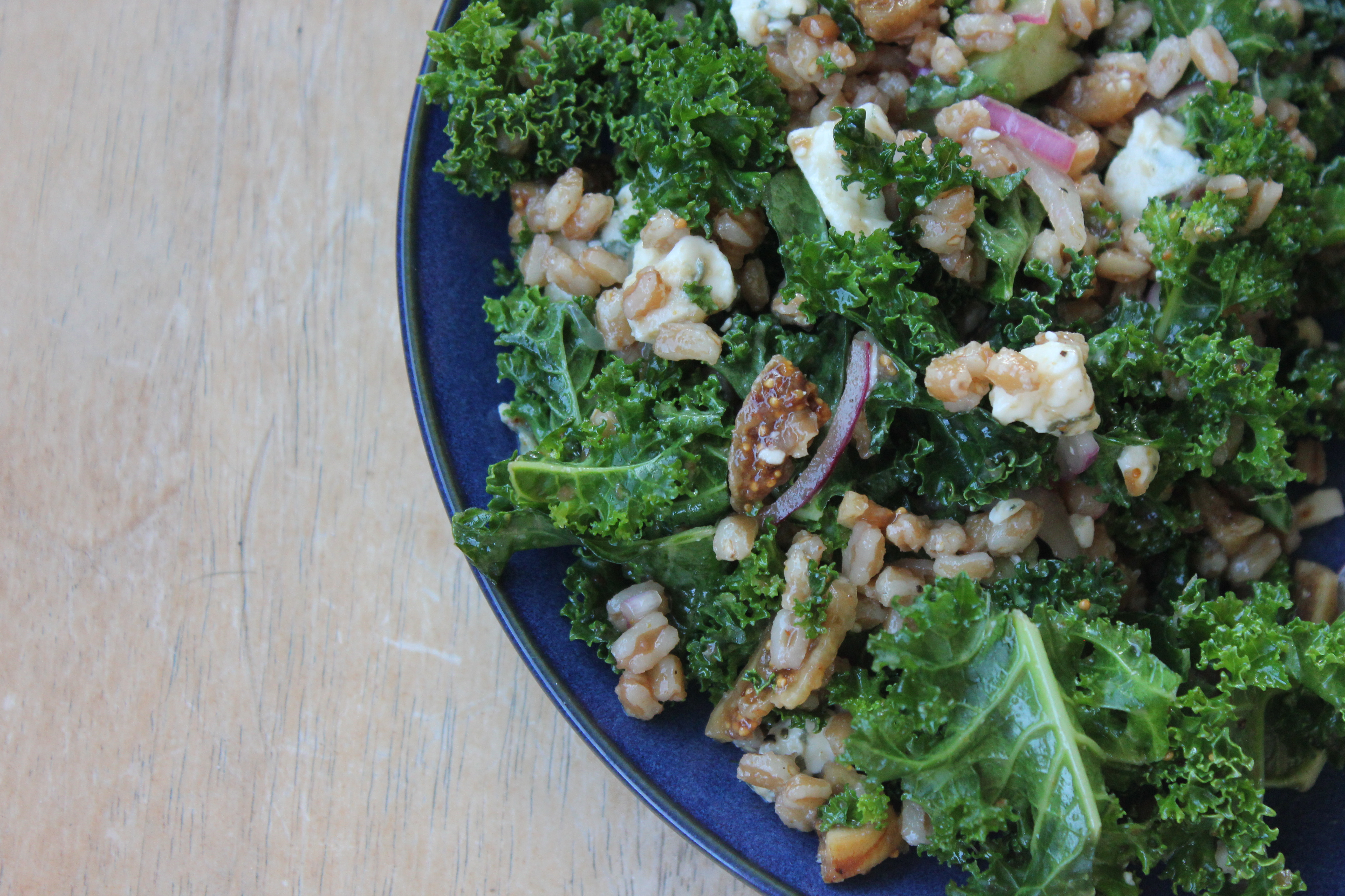 Kale Salad with Farro, Figs and Gorgonzola
