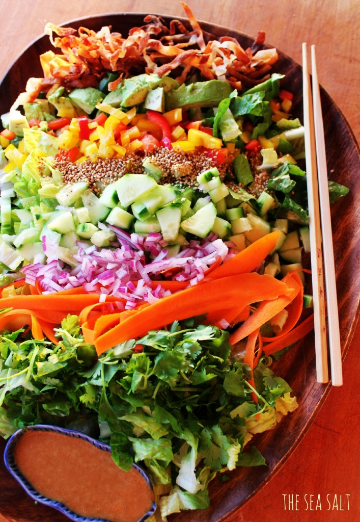 Chopped Salad with Crispy Wonton Strips and Asian Peanut Dressing