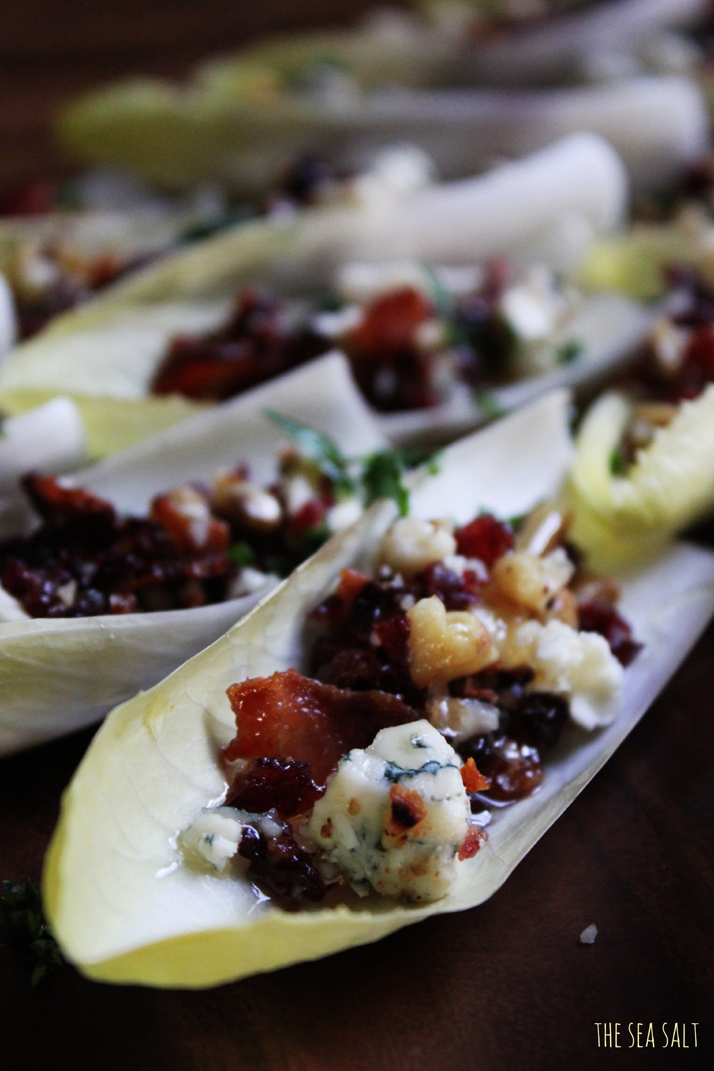 Endive Boats with Bacon, Walnuts, Cranberries & Gorgonzola