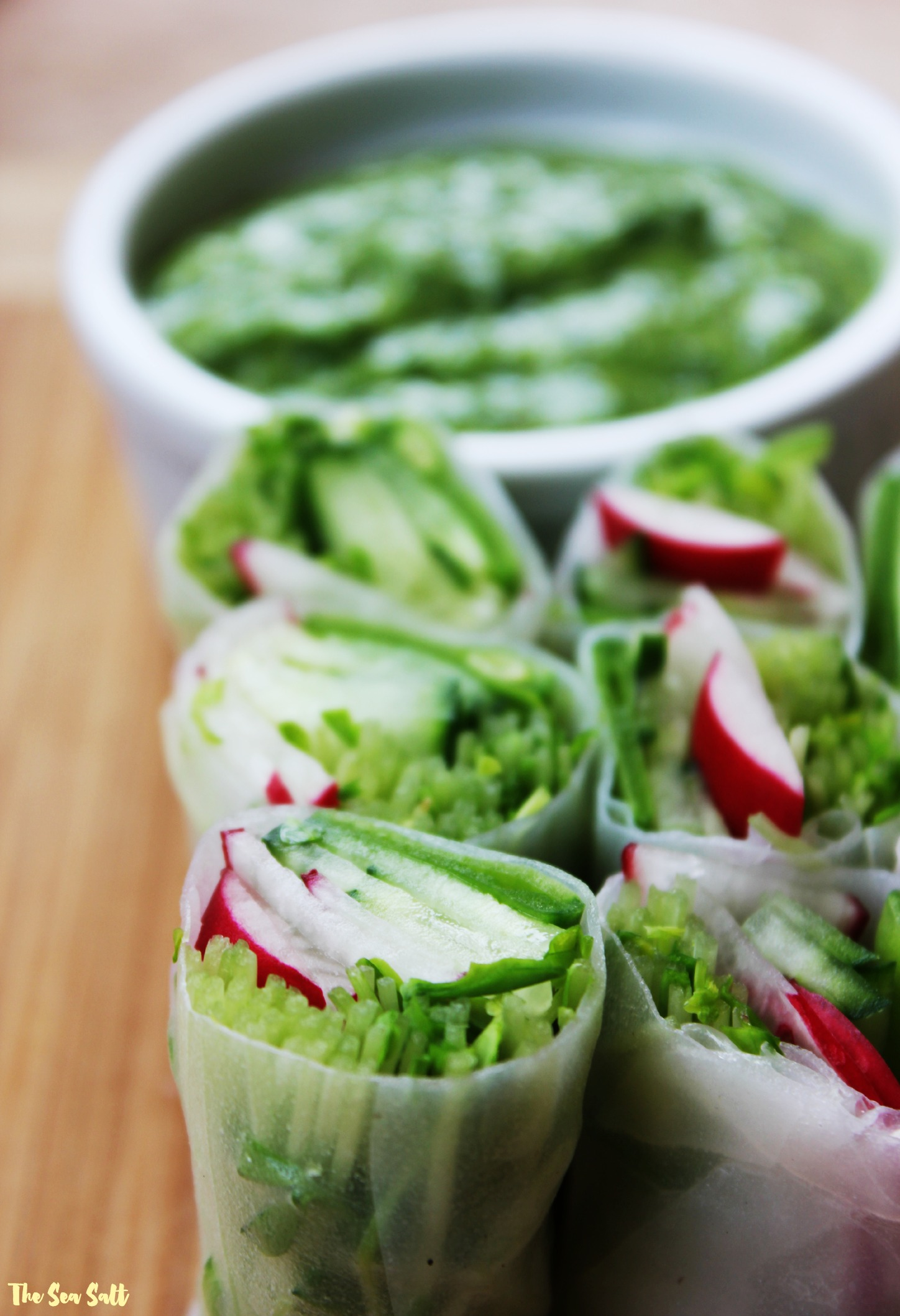 Fresh Spring Rolls with Pea Shoots, Radishes and Vegan Green Goddess Dipping Sauce