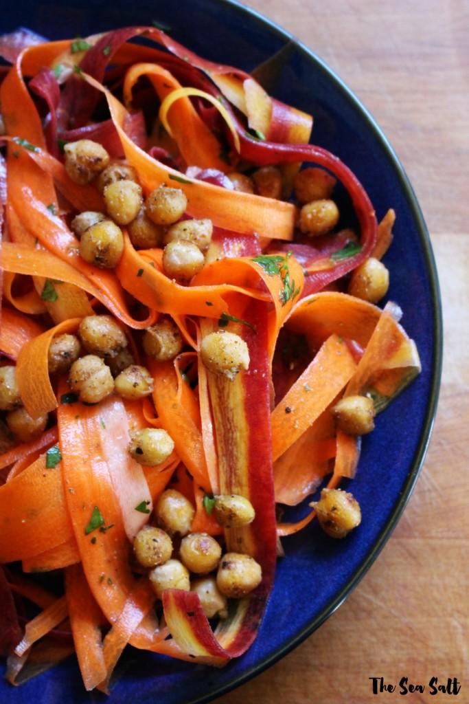 Carrot Salad with Coriander Spiced Crispy Chickpeas