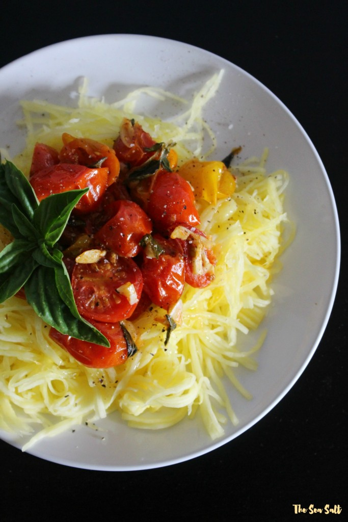 Herb and Garlic Roasted Tomatoes with Spaghetti Squash