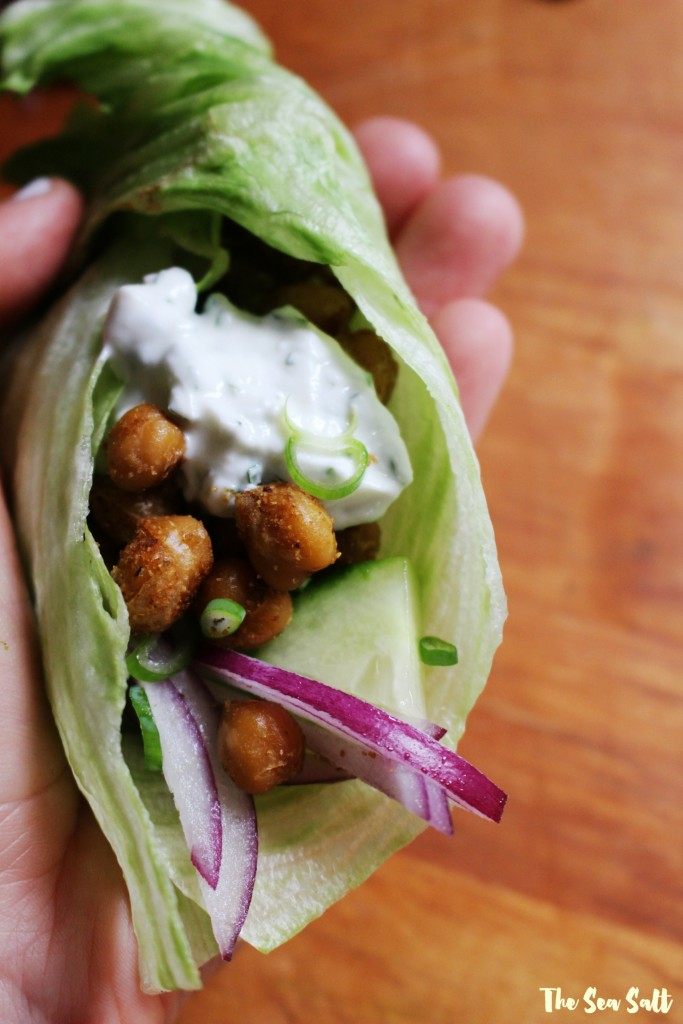 Crispy Chickpea Lettuce Wraps with Herb Garlic Yogurt Sauce