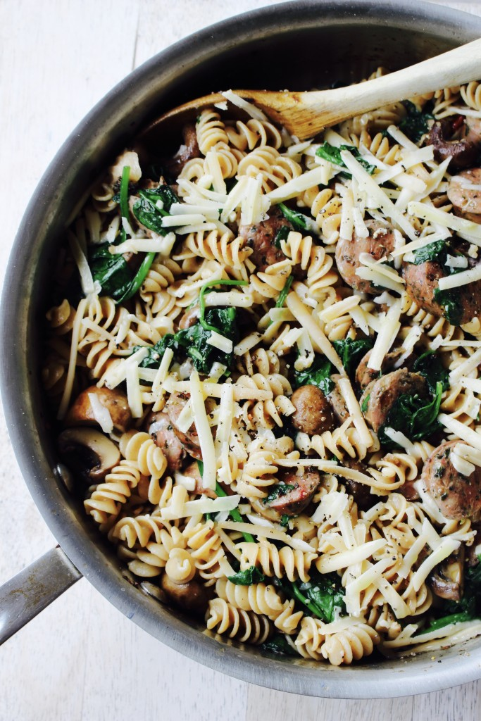 Chicken Sausage Skillet with Garlicky Spinach and Mushrooms
