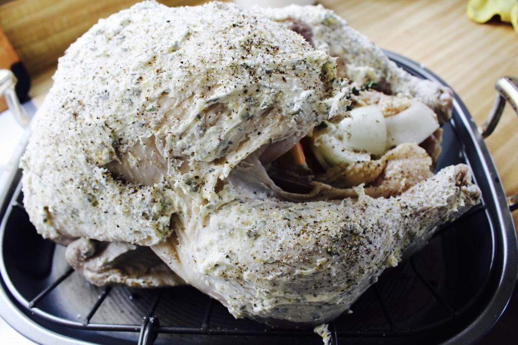 Prepping a Turkey to Roast