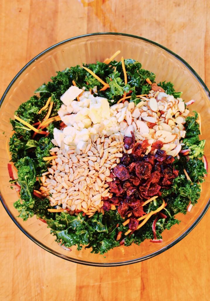 Autumn Kale Salad with Cider Vinaigrette
