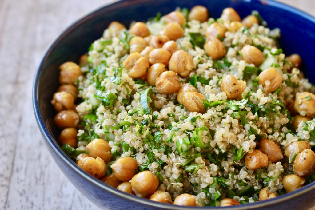 Falafel Spiced Quinoa Salad with Crispy Chickpeas