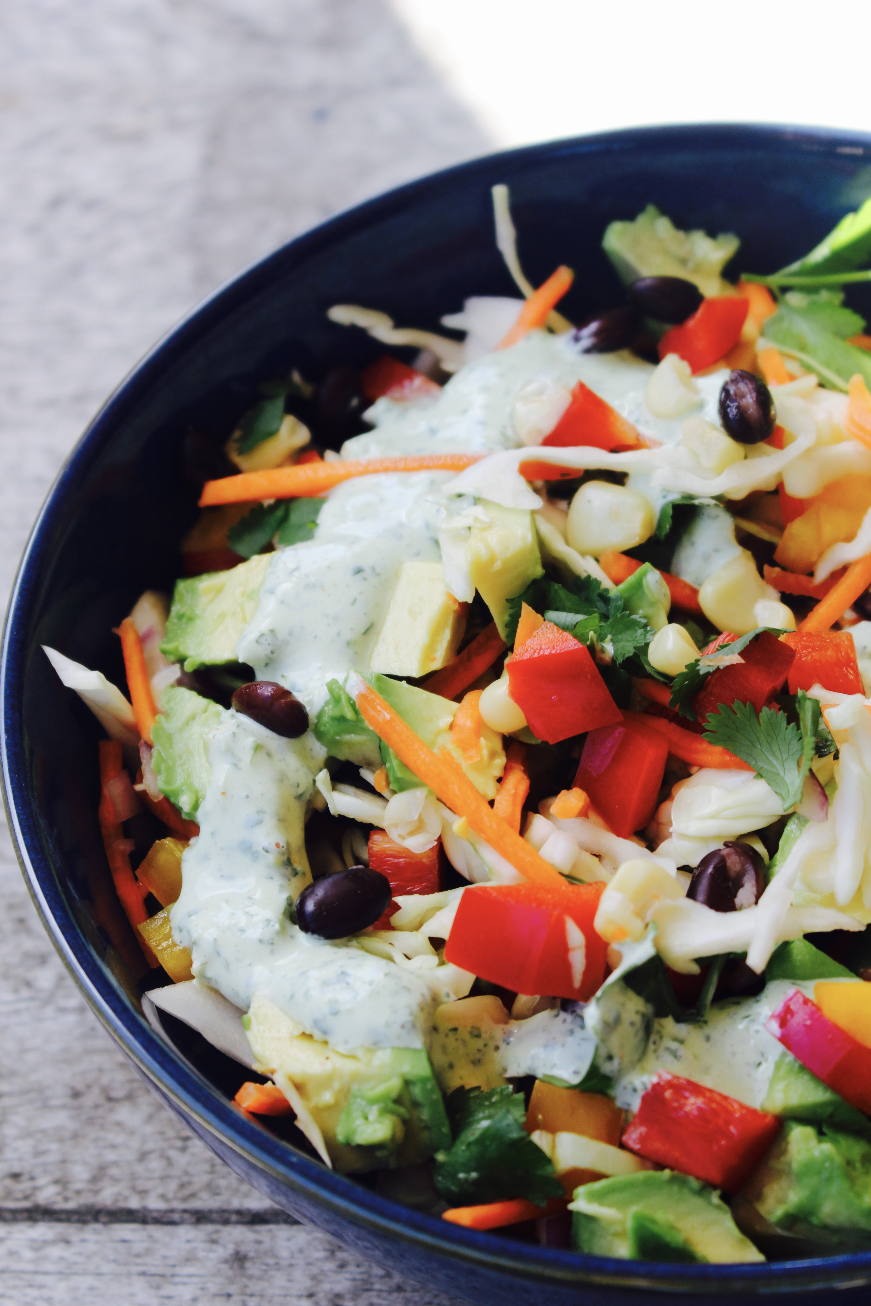 Vegetarian Taco Slaw with Creamy Cilantro Lime Dressing