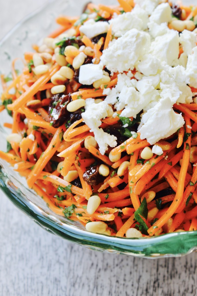 Carrot Salad with Raisins, Pine nuts and Feta