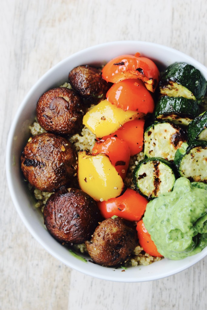 Quinoa Bowl with Grilled Vegetables and Vegan Green Goddess Sauce