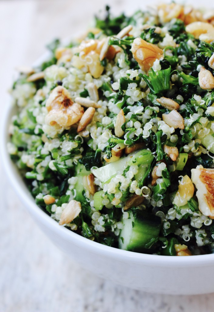 Roasted Broccolini Quinoa Salad with Lemon and Walnuts