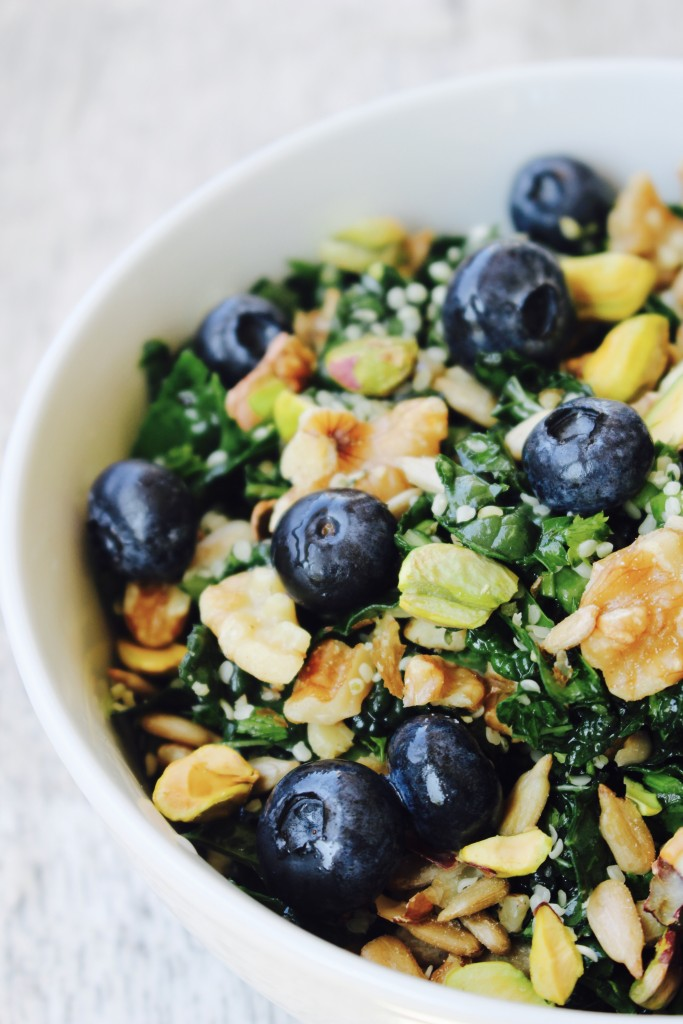 Chopped Nutty Kale Salad with Blueberries