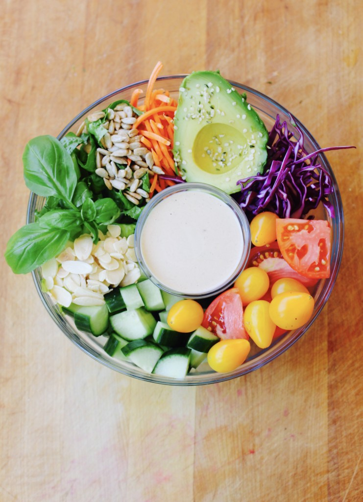 California Summer Salad Bowl with Tahini Lemon Dressing