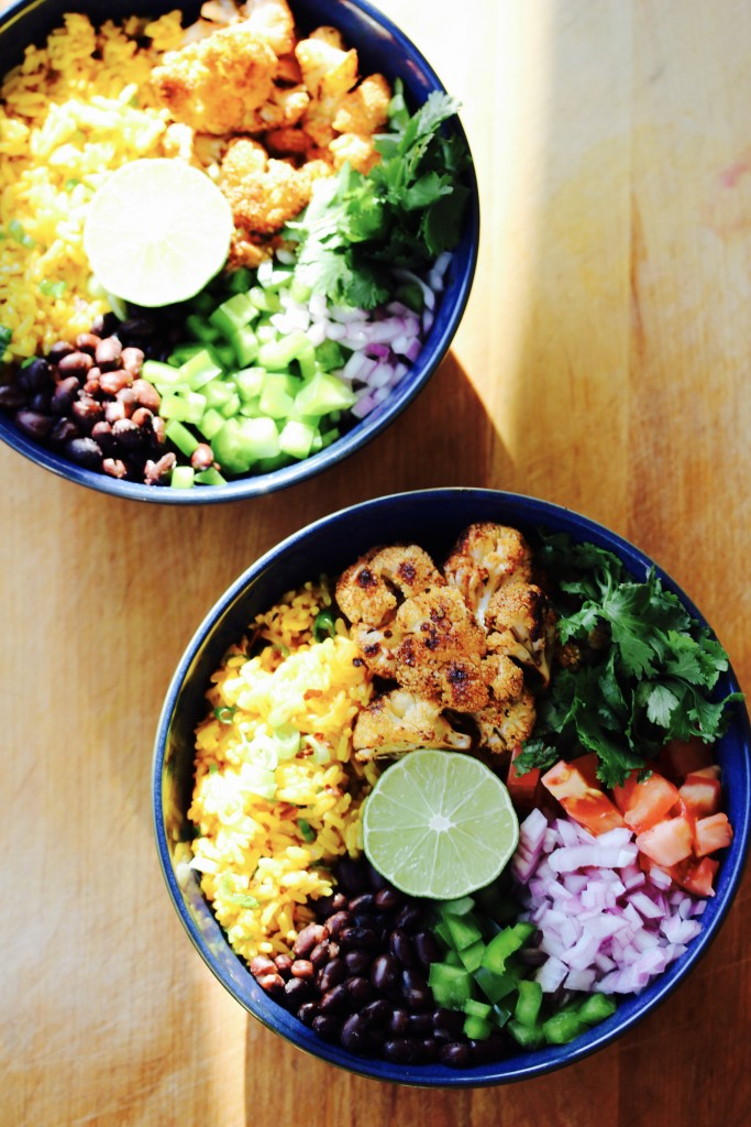 Golden Rice Bowl with Spicy Cauliflower and Black Beans