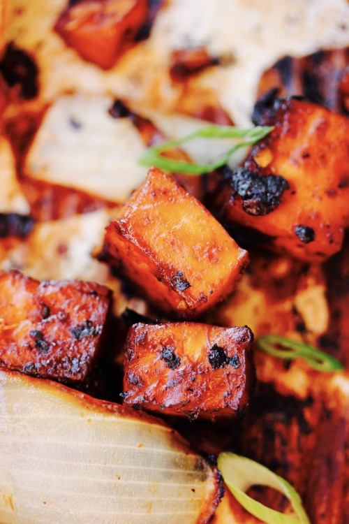 Gochujang and Ginger Marinated Tofu with Butternut Squash, Peppers and Onions